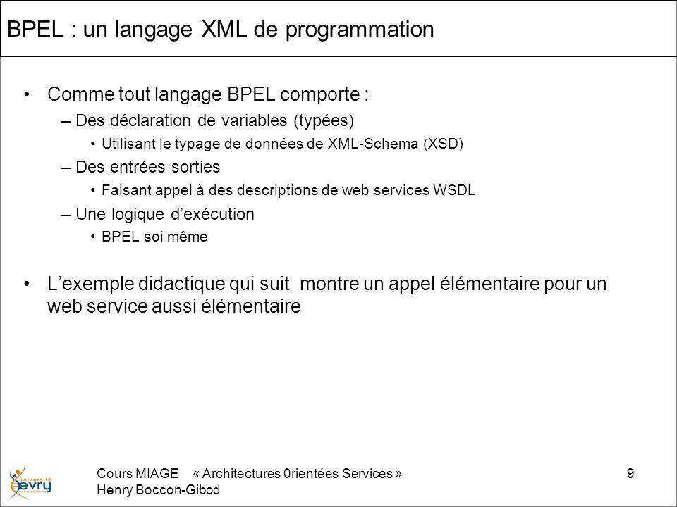 Cours MIAGE « Architectures 0rientées Services » Henry Boccon-Gibod 30 BPMN : discussion