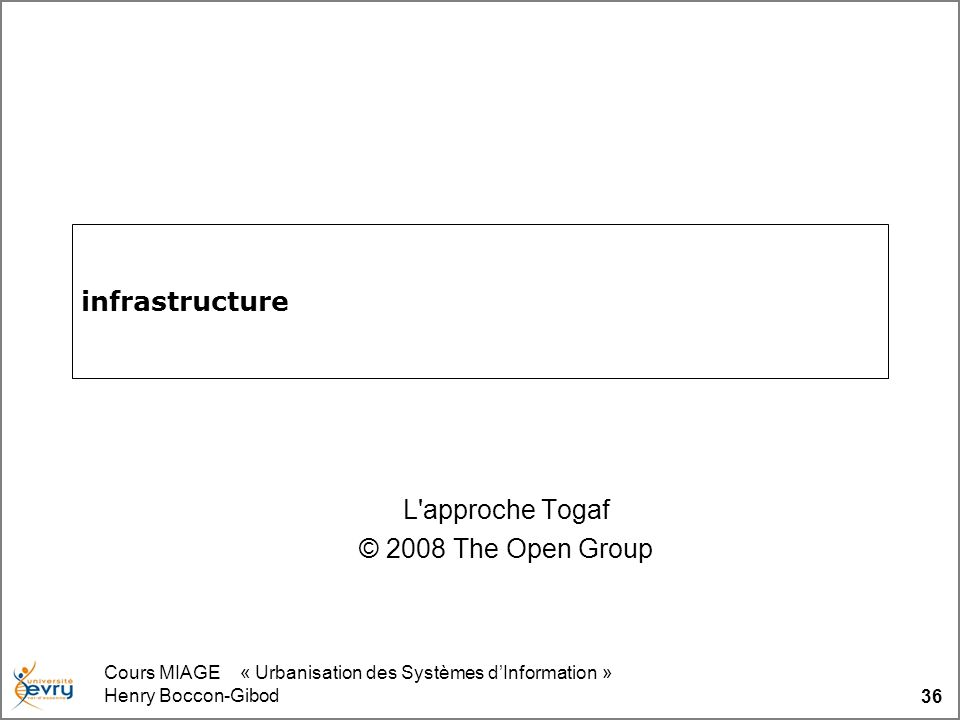 Cours MIAGE « Urbanisation des Systèmes dInformation » Henry Boccon-Gibod 36 infrastructure L approche Togaf © 2008 The Open Group