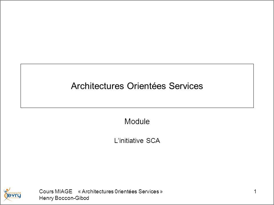 Cours MIAGE « Architectures 0rientées Services » Henry Boccon-Gibod 1 Architectures Orientées Services Module Linitiative SCA