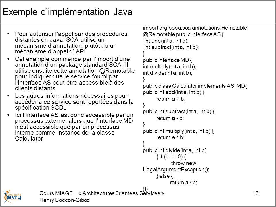 Cours MIAGE « Architectures 0rientées Services » Henry Boccon-Gibod 13 Exemple dimplémentation Java Pour autoriser lappel par des procédures distantes