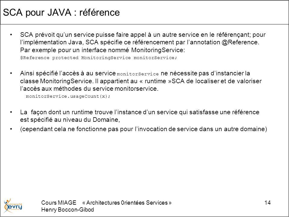 Cours MIAGE « Architectures 0rientées Services » Henry Boccon-Gibod 14 SCA pour JAVA : référence SCA prévoit quun service puisse faire appel à un autr