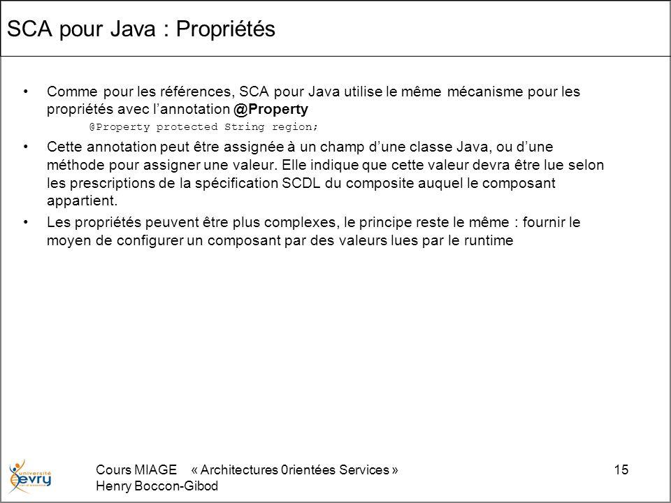 Cours MIAGE « Architectures 0rientées Services » Henry Boccon-Gibod 15 SCA pour Java : Propriétés Comme pour les références, SCA pour Java utilise le