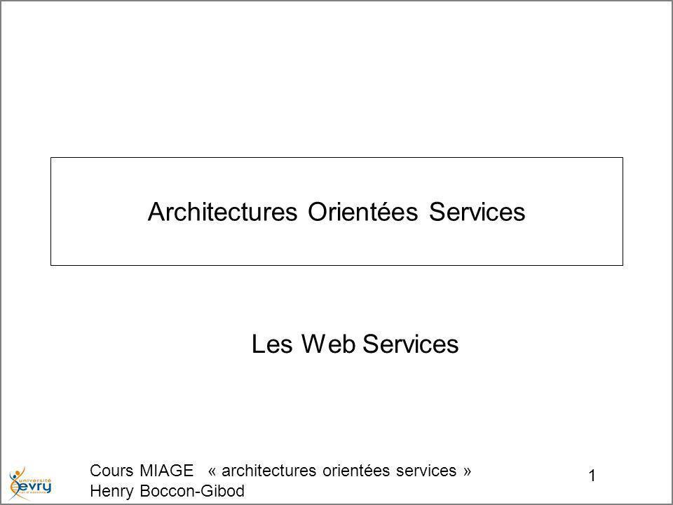 Cours MIAGE « architectures orientées services » Henry Boccon-Gibod 2 SOAP WSDL UDDI Small Object Application Protocol Web Service Description Language Universal Description Discovery & Integration…