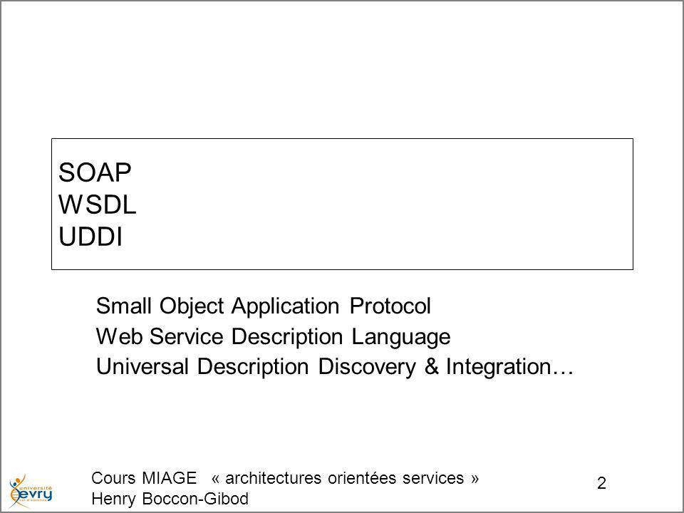 Cours MIAGE « architectures orientées services » Henry Boccon-Gibod 2 SOAP WSDL UDDI Small Object Application Protocol Web Service Description Language Universal Description Discovery & Integration…