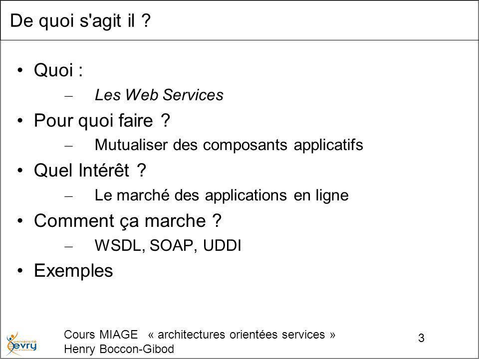 Cours MIAGE « architectures orientées services » Henry Boccon-Gibod 24 WSDL .
