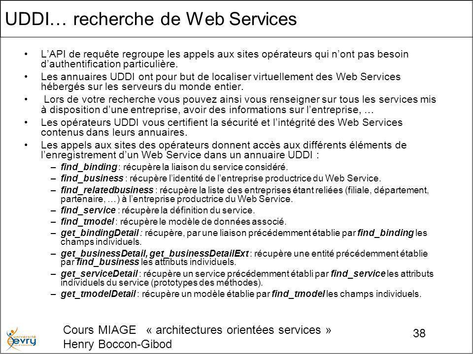 Cours MIAGE « architectures orientées services » Henry Boccon-Gibod 38 UDDI… recherche de Web Services LAPI de requête regroupe les appels aux sites opérateurs qui nont pas besoin dauthentification particulière.