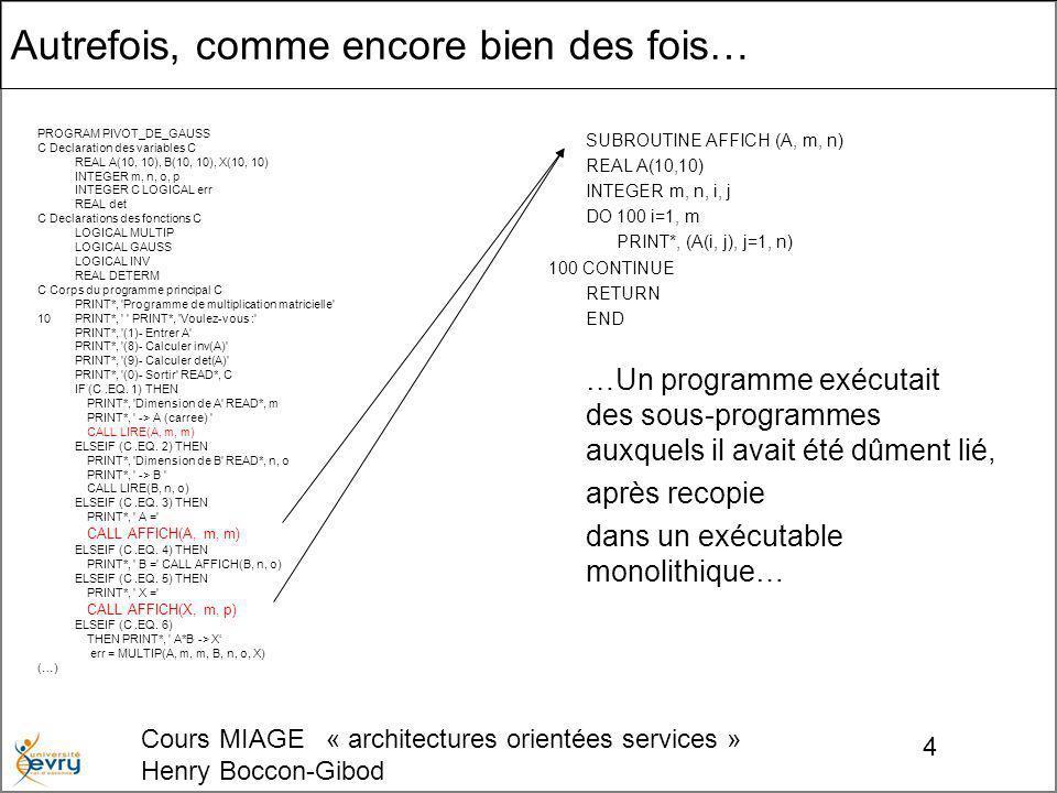 Cours MIAGE « architectures orientées services » Henry Boccon-Gibod 4 Autrefois, comme encore bien des fois… PROGRAM PIVOT_DE_GAUSS C Declaration des variables C REAL A(10, 10), B(10, 10), X(10, 10) INTEGER m, n, o, p INTEGER C LOGICAL err REAL det C Declarations des fonctions C LOGICAL MULTIP LOGICAL GAUSS LOGICAL INV REAL DETERM C Corps du programme principal C PRINT*, Programme de multiplication matricielle 10 PRINT*, PRINT*, Voulez-vous : PRINT*, (1)- Entrer A PRINT*, (8)- Calculer inv(A) PRINT*, (9)- Calculer det(A) PRINT*, (0)- Sortir READ*, C IF (C.EQ.