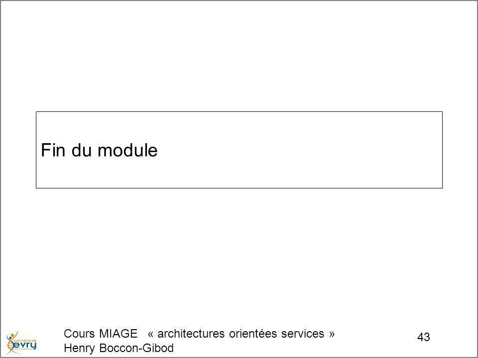 Cours MIAGE « architectures orientées services » Henry Boccon-Gibod 43 Fin du module