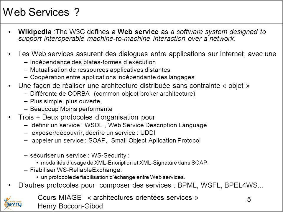Cours MIAGE « architectures orientées services » Henry Boccon-Gibod 26 Liaison Type de port protocole daccès concret au port.