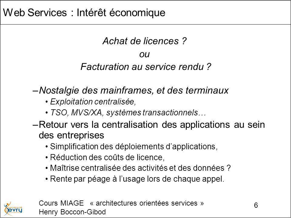 Cours MIAGE « architectures orientées services » Henry Boccon-Gibod 27 Définition d opérations avec leurs paramètres d appel et de retour éléments de fonctionnalités étendues, qui affectent les échanges de messages.
