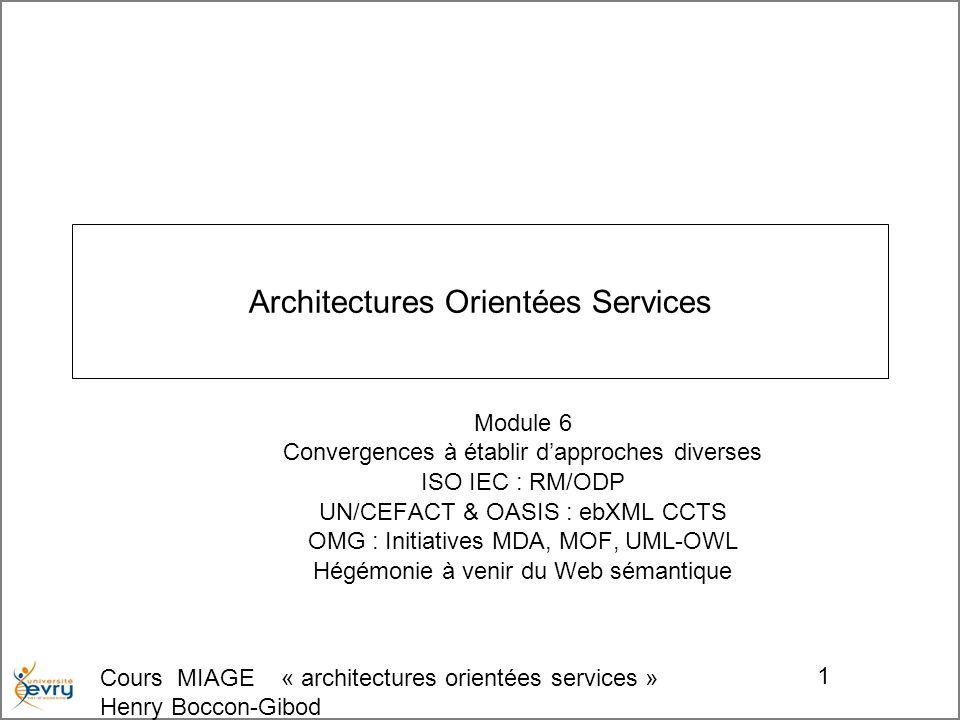 Cours MIAGE « architectures orientées services » Henry Boccon-Gibod 2 Plan du module Recherches de convergences dinitiatives de différentes origines –ISO-IEC et le standard RM/ODP Open Distributed Processing Reference Model –UN/CEFACT et OASIS : ebXML et les Core Component Types –lOMG et ses initiatives de pour une approche formelle rigoureuse pour UML Méta modélisation de UML : MOF, sérialisation XMI Intégration des problématiques ontologiques dans UML : profil -OWL La démarche MDA ; Model Driven Architecture, QVT Query/View/Transformation Apports du Web sémantique aux architectures orientés services –Évolution vers OWL-S des modalités de découverte et d accès aux Web Services.