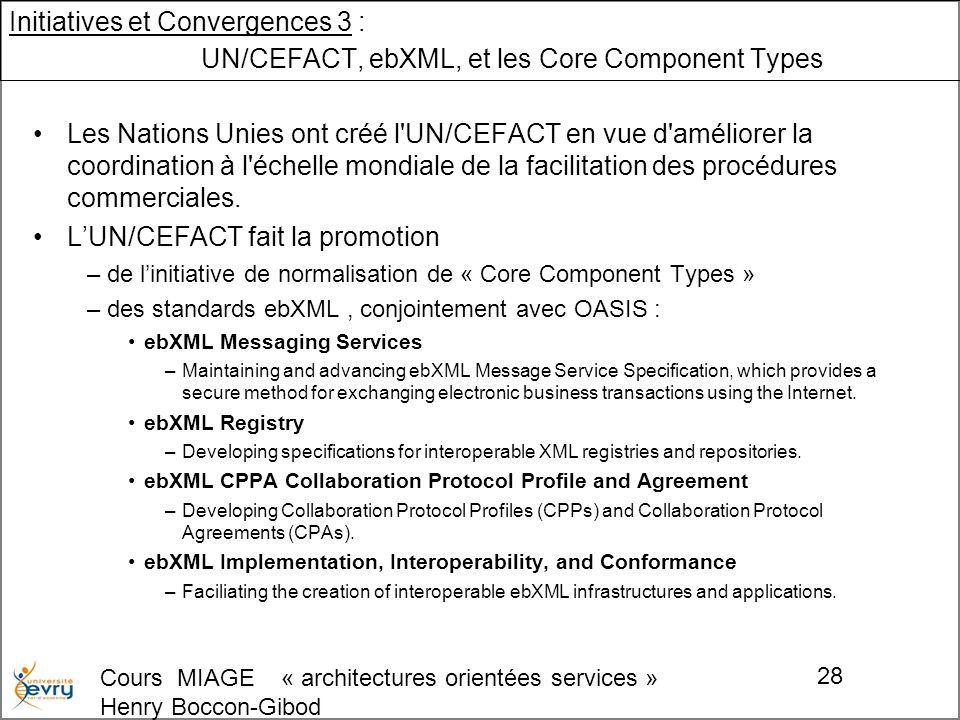 Cours MIAGE « architectures orientées services » Henry Boccon-Gibod 28 Initiatives et Convergences 3 : UN/CEFACT, ebXML, et les Core Component Types Les Nations Unies ont créé l UN/CEFACT en vue d améliorer la coordination à l échelle mondiale de la facilitation des procédures commerciales.