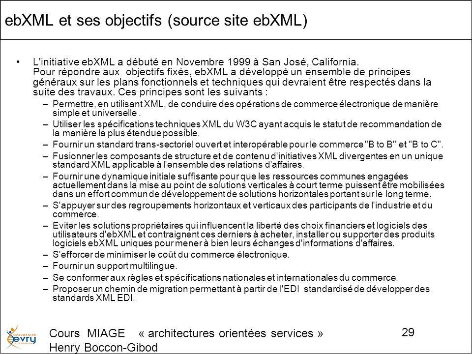 Cours MIAGE « architectures orientées services » Henry Boccon-Gibod 29 ebXML et ses objectifs (source site ebXML) L initiative ebXML a débuté en Novembre 1999 à San José, California.
