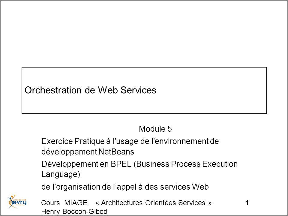 Cours MIAGE « Architectures Orientées Services » Henry Boccon-Gibod 1 Orchestration de Web Services Module 5 Exercice Pratique à l usage de l environnement de développement NetBeans Développement en BPEL (Business Process Execution Language) de lorganisation de lappel à des services Web