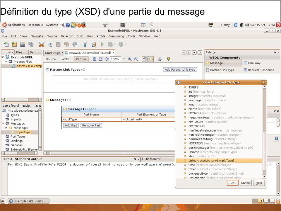Cours MIAGE « Architectures Orientées Services » Henry Boccon-Gibod 10 Définition du type (XSD) d une partie du message