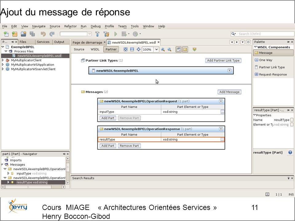 Cours MIAGE « Architectures Orientées Services » Henry Boccon-Gibod 11 Ajout du message de réponse