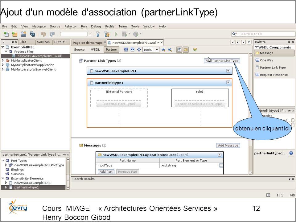 Cours MIAGE « Architectures Orientées Services » Henry Boccon-Gibod 12 Ajout d un modèle d association (partnerLinkType) obtenu en cliquant ici