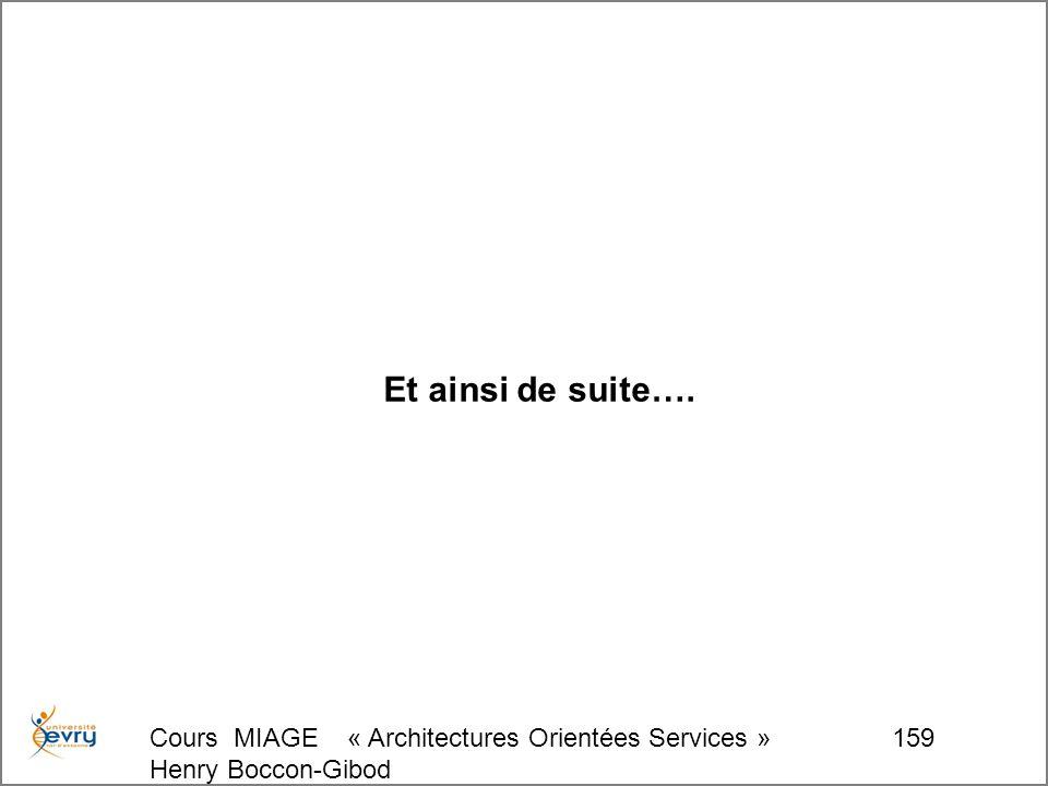 Cours MIAGE « Architectures Orientées Services » Henry Boccon-Gibod 159 Et ainsi de suite….