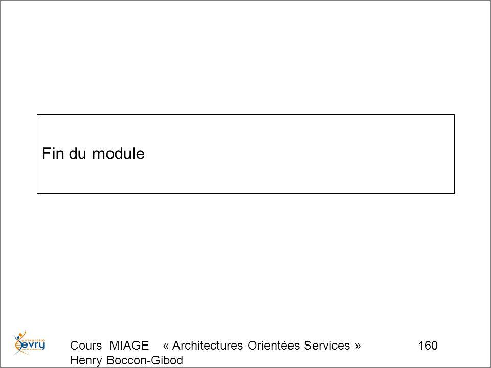 Cours MIAGE « Architectures Orientées Services » Henry Boccon-Gibod 160 Fin du module