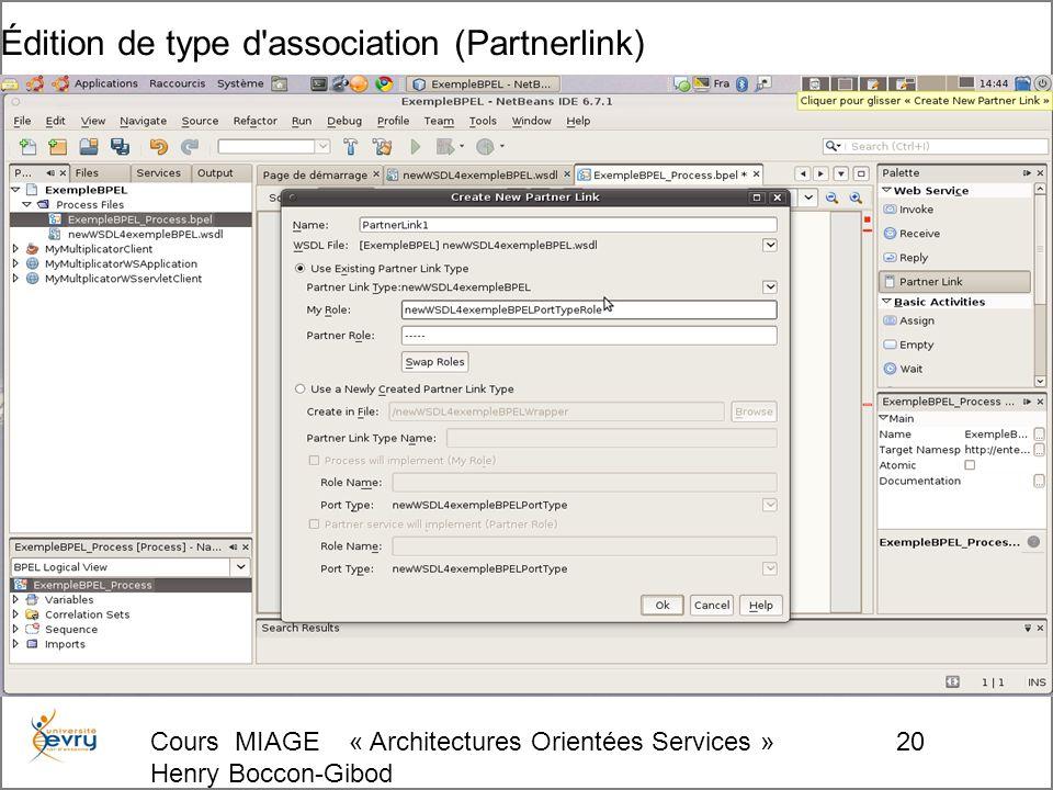 Cours MIAGE « Architectures Orientées Services » Henry Boccon-Gibod 20 Édition de type d association (Partnerlink)