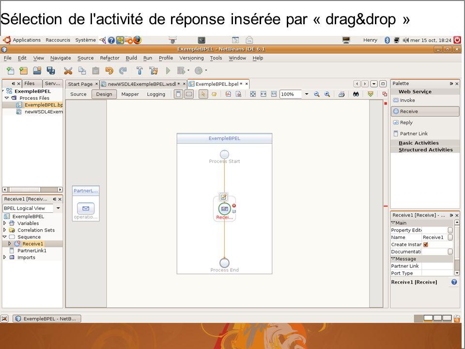 Cours MIAGE « Architectures Orientées Services » Henry Boccon-Gibod 22 Sélection de l activité de réponse insérée par « drag&drop »
