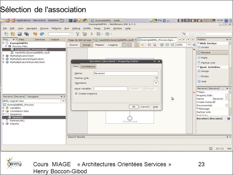 Cours MIAGE « Architectures Orientées Services » Henry Boccon-Gibod 23 Sélection de l association