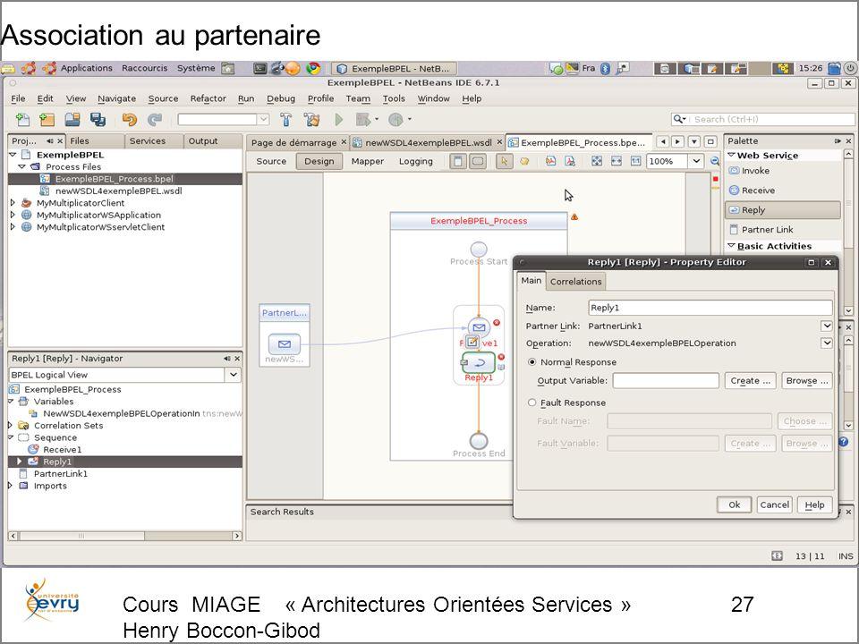 Cours MIAGE « Architectures Orientées Services » Henry Boccon-Gibod 27 Association au partenaire