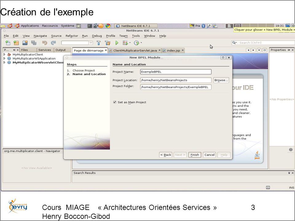 Cours MIAGE « Architectures Orientées Services » Henry Boccon-Gibod 124 Entrée du cas de test