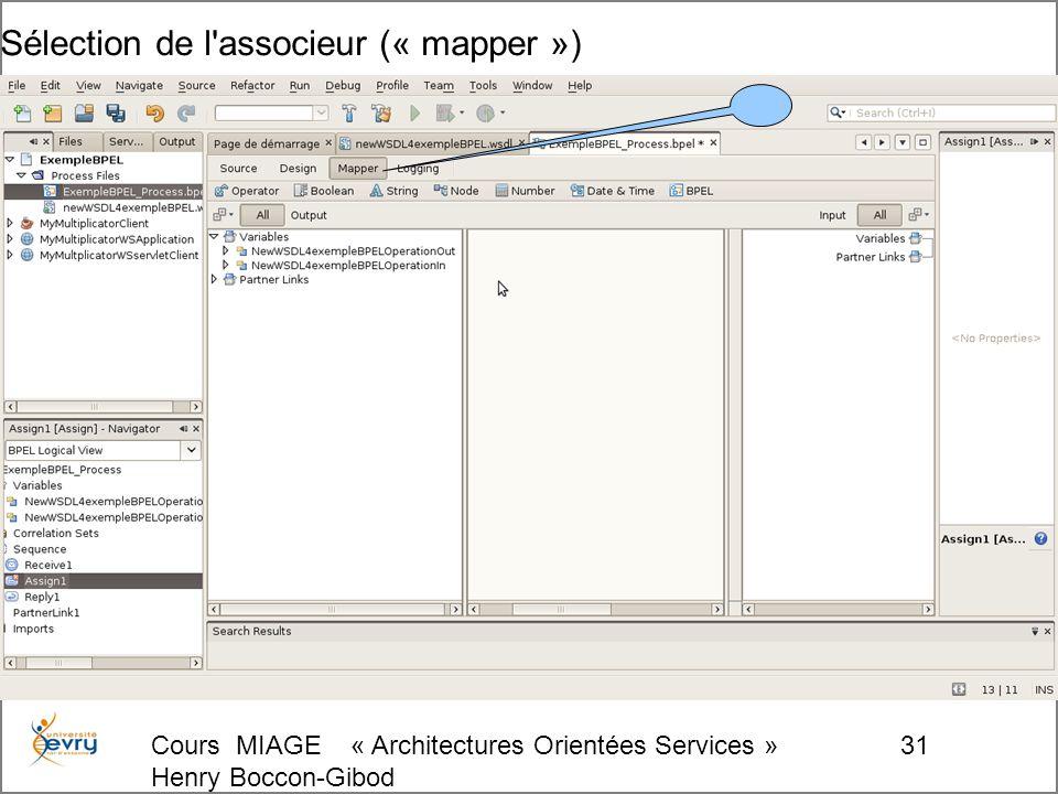 Cours MIAGE « Architectures Orientées Services » Henry Boccon-Gibod 31 Sélection de l associeur (« mapper »)