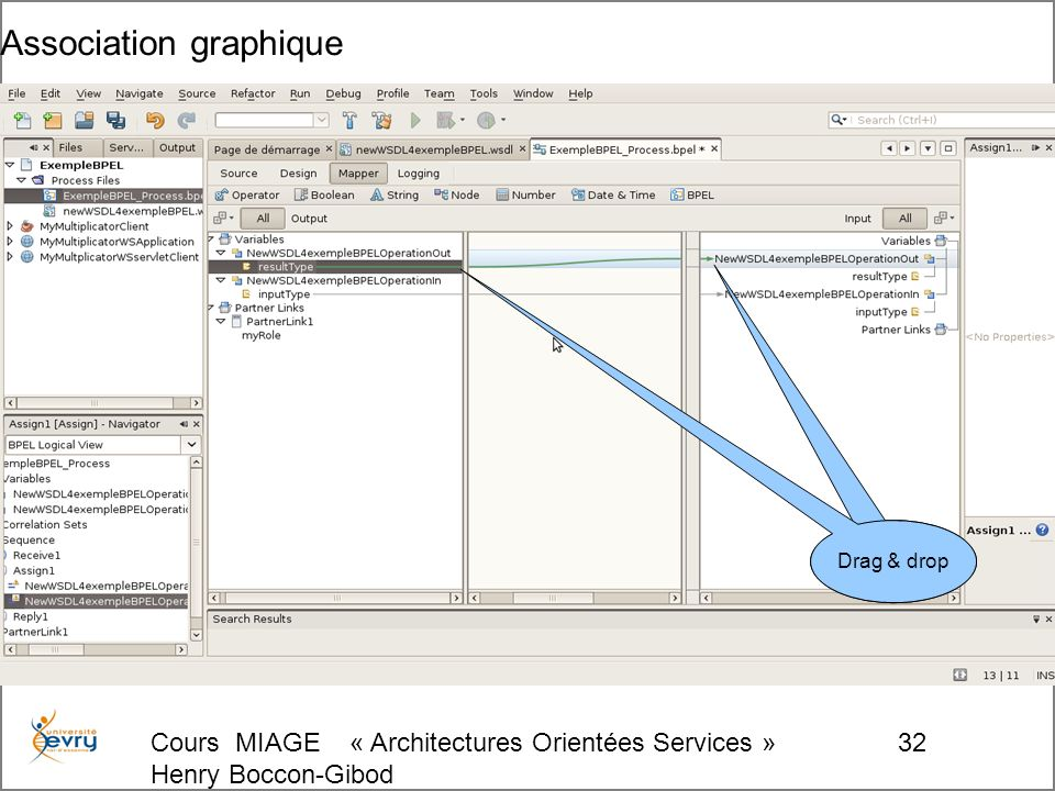 Cours MIAGE « Architectures Orientées Services » Henry Boccon-Gibod 32 Association graphique Drag & drop