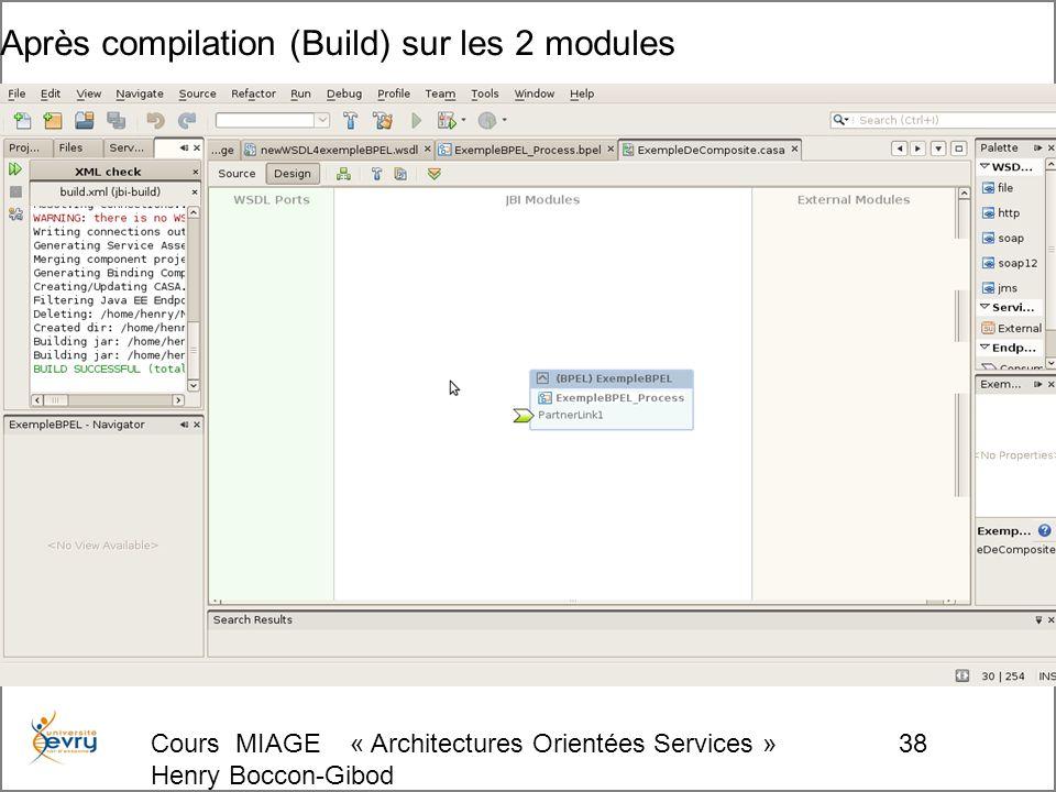 Cours MIAGE « Architectures Orientées Services » Henry Boccon-Gibod 38 Après compilation (Build) sur les 2 modules