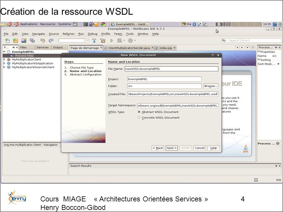 Cours MIAGE « Architectures Orientées Services » Henry Boccon-Gibod 5 Configuration de la ressource WSDL par défaut (à éditer)