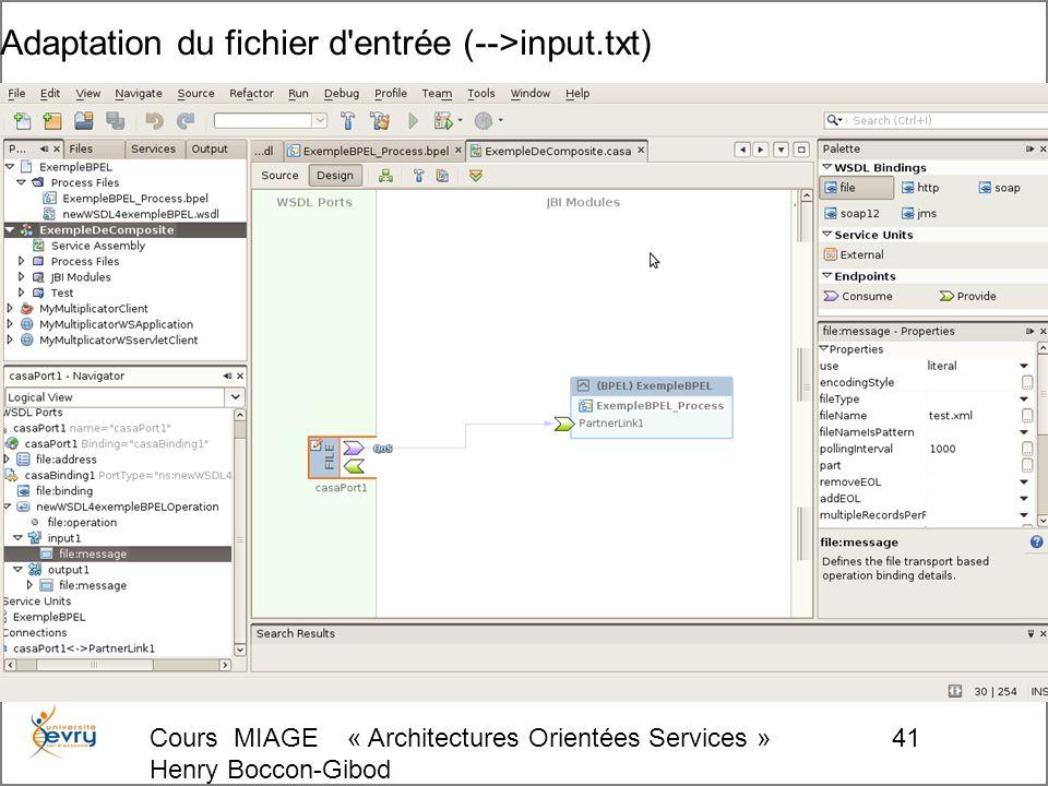 Cours MIAGE « Architectures Orientées Services » Henry Boccon-Gibod 41 Adaptation du fichier d entrée (-->input.txt)