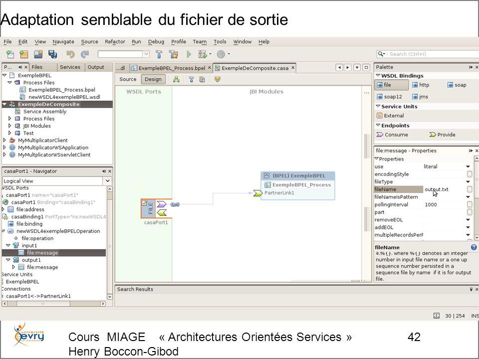 Cours MIAGE « Architectures Orientées Services » Henry Boccon-Gibod 42 Adaptation semblable du fichier de sortie