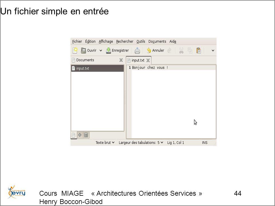 Cours MIAGE « Architectures Orientées Services » Henry Boccon-Gibod 44 Un fichier simple en entrée