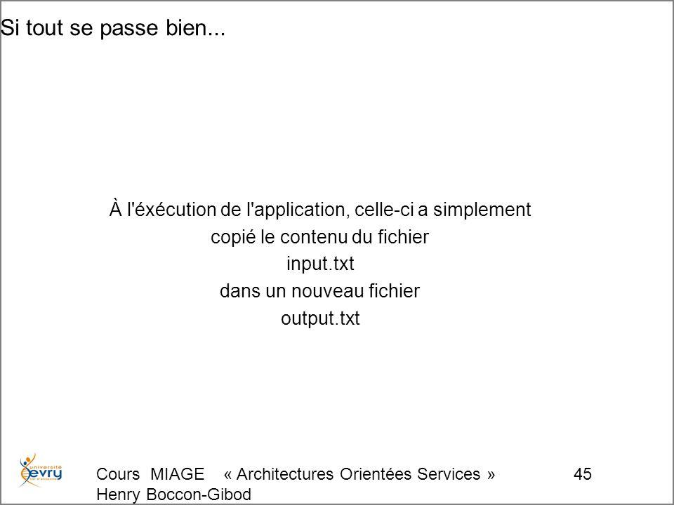 Cours MIAGE « Architectures Orientées Services » Henry Boccon-Gibod 45 Si tout se passe bien...