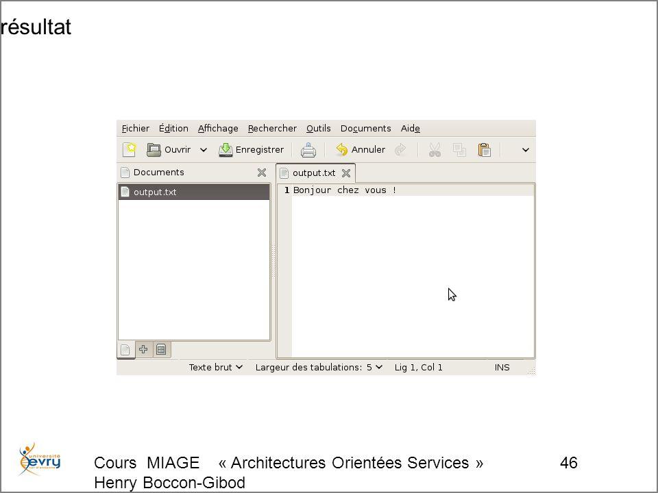 Cours MIAGE « Architectures Orientées Services » Henry Boccon-Gibod 46 résultat