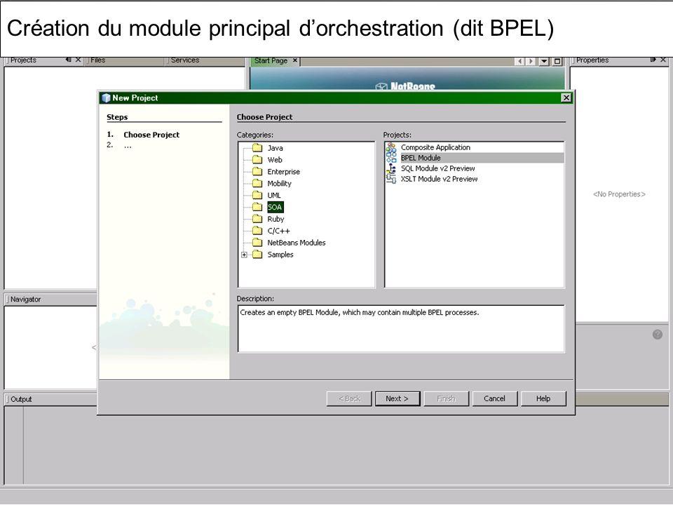 Cours MIAGE « Architectures Orientées Services » Henry Boccon-Gibod 49 Création du module principal dorchestration (dit BPEL)