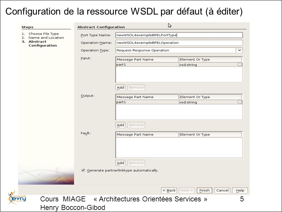 Cours MIAGE « Architectures Orientées Services » Henry Boccon-Gibod 26 Insertion de l activité de réponse dans le processus (drag&drop)