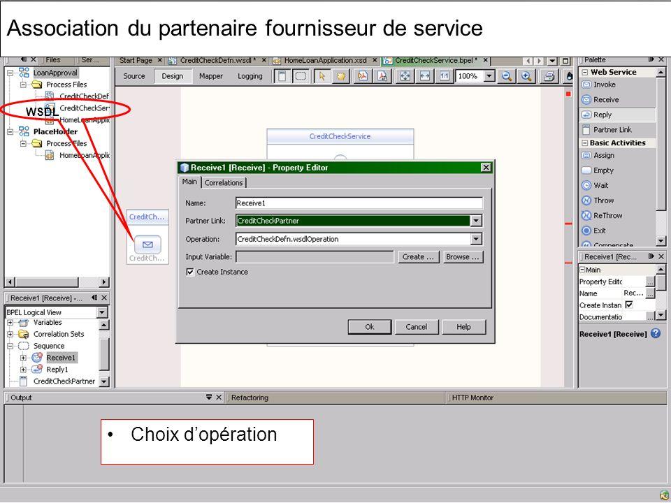 Cours MIAGE « Architectures Orientées Services » Henry Boccon-Gibod 54 Association du partenaire fournisseur de service Choix dopération WSDL