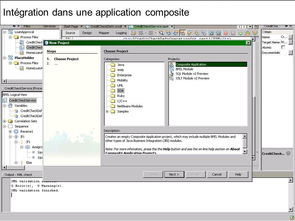 Cours MIAGE « Architectures Orientées Services » Henry Boccon-Gibod 62 Intégration dans une application composite