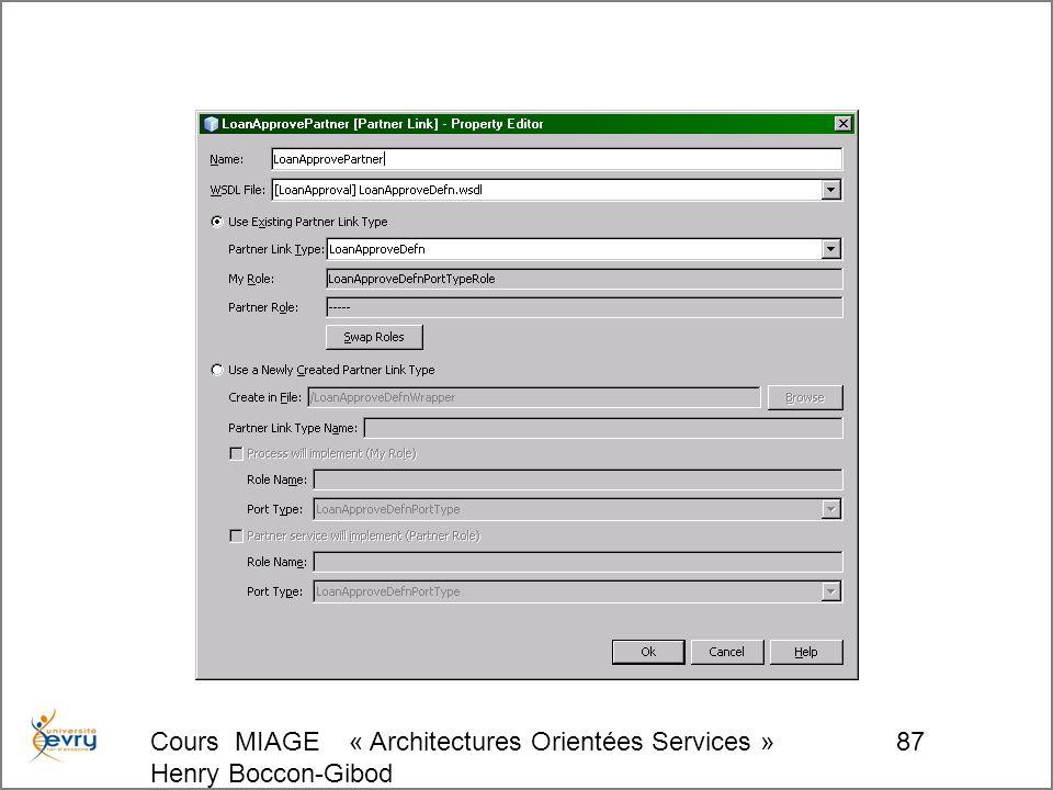 Cours MIAGE « Architectures Orientées Services » Henry Boccon-Gibod 87