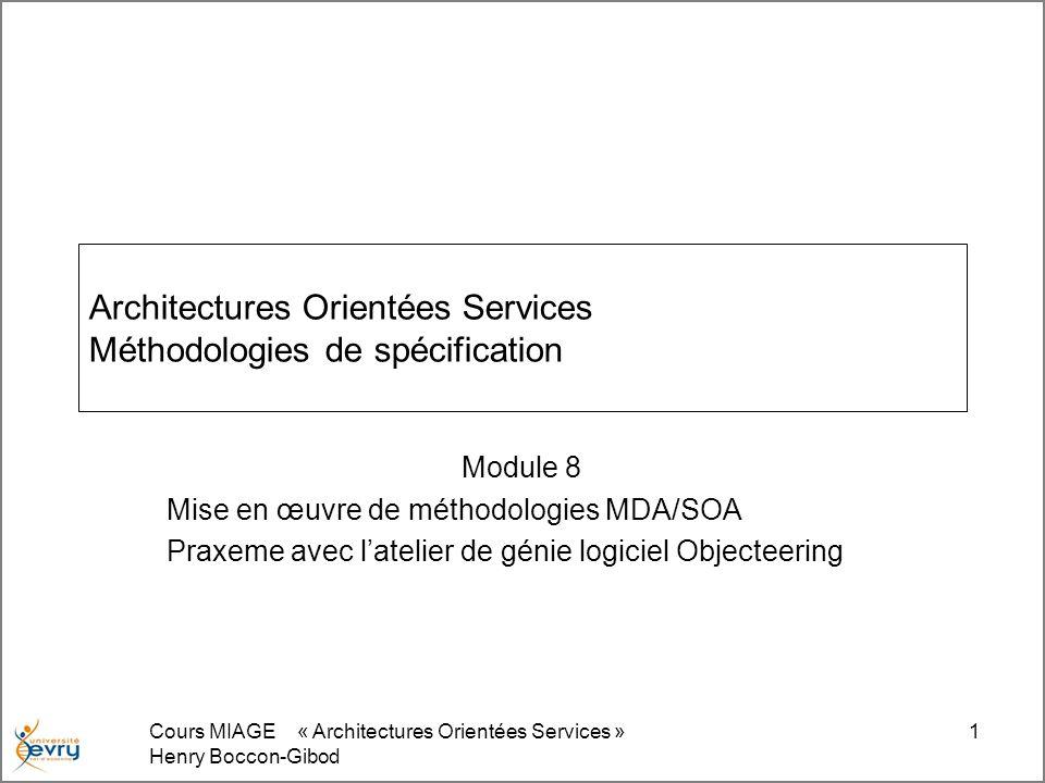 Cours MIAGE « Architectures Orientées Services » Henry Boccon-Gibod 1 Architectures Orientées Services Méthodologies de spécification Module 8 Mise en œuvre de méthodologies MDA/SOA Praxeme avec latelier de génie logiciel Objecteering