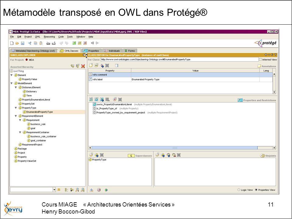 Cours MIAGE « Architectures Orientées Services » Henry Boccon-Gibod 11 Métamodèle transposé en OWL dans Protégé®
