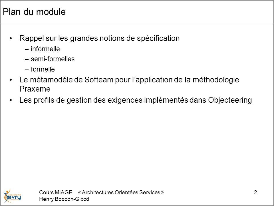 Cours MIAGE « Architectures Orientées Services » Henry Boccon-Gibod 2 Plan du module Rappel sur les grandes notions de spécification –informelle –semi