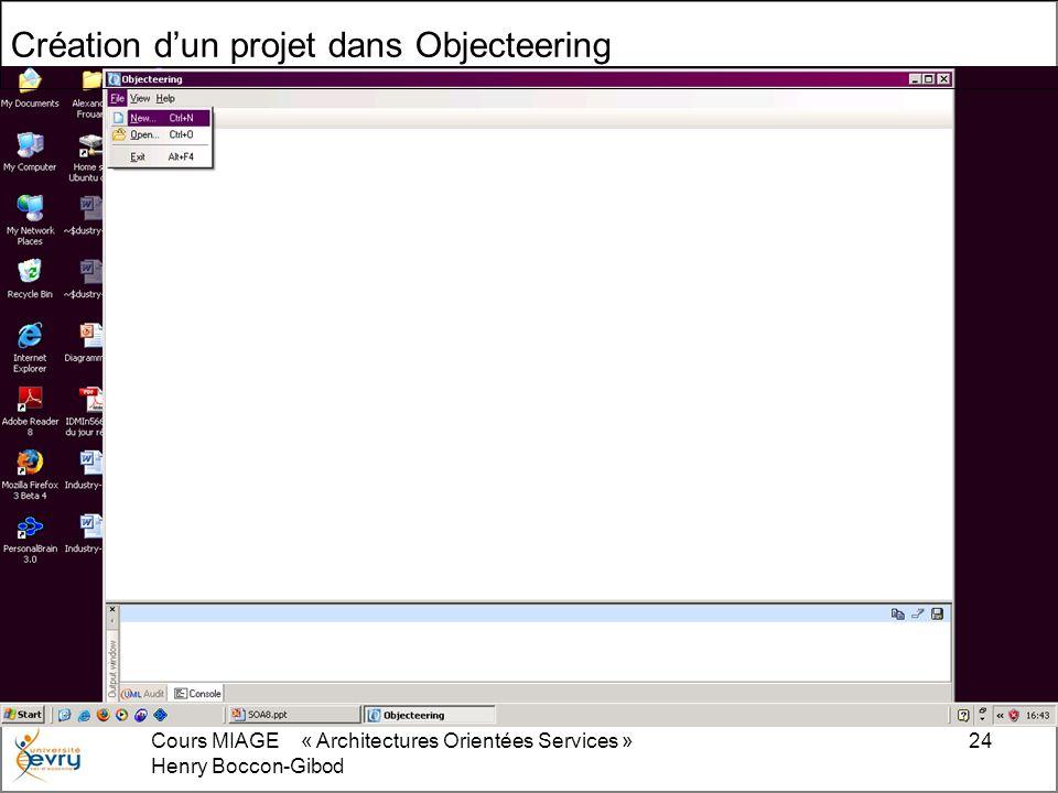 Cours MIAGE « Architectures Orientées Services » Henry Boccon-Gibod 24 Création dun projet dans Objecteering