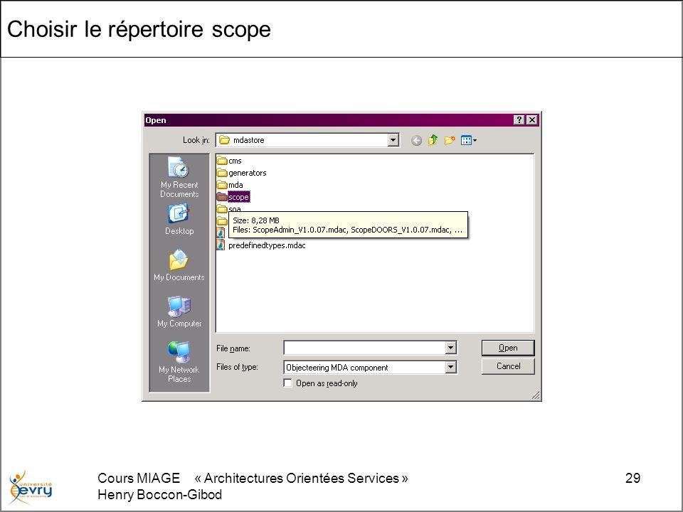 Cours MIAGE « Architectures Orientées Services » Henry Boccon-Gibod 29 Choisir le répertoire scope