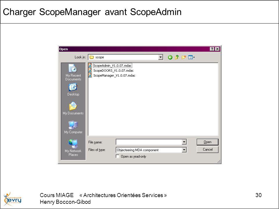 Cours MIAGE « Architectures Orientées Services » Henry Boccon-Gibod 30 Charger ScopeManager avant ScopeAdmin