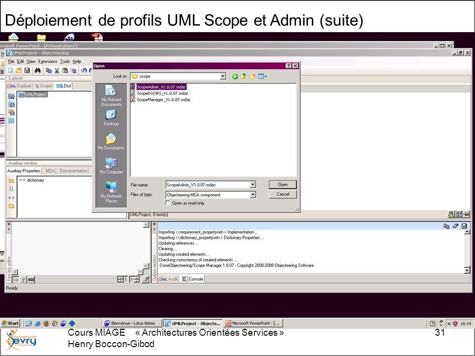 Cours MIAGE « Architectures Orientées Services » Henry Boccon-Gibod 31 Déploiement de profils UML Scope et Admin (suite)