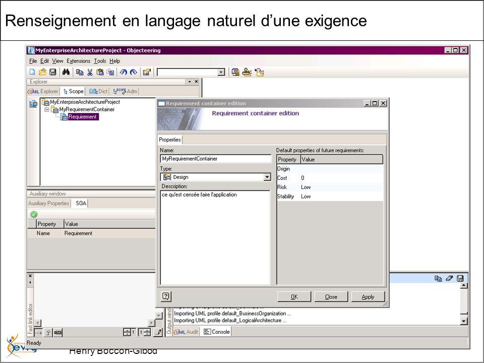 Cours MIAGE « Architectures Orientées Services » Henry Boccon-Gibod 35 Renseignement en langage naturel dune exigence